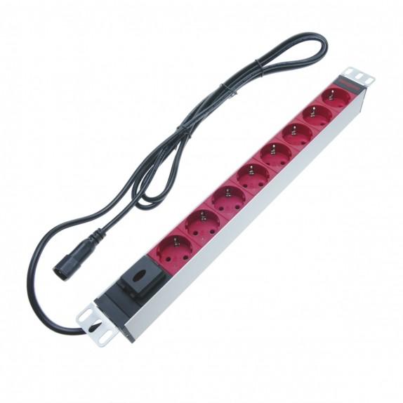 """Regleta de enchufes rack 19"""" de 8 schuko rojo con interruptor y cable C14 de RackMatic"""