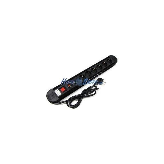 Regleta de enchufes 6 schuko con interruptor y protección sobretensiones (1.5m cable)