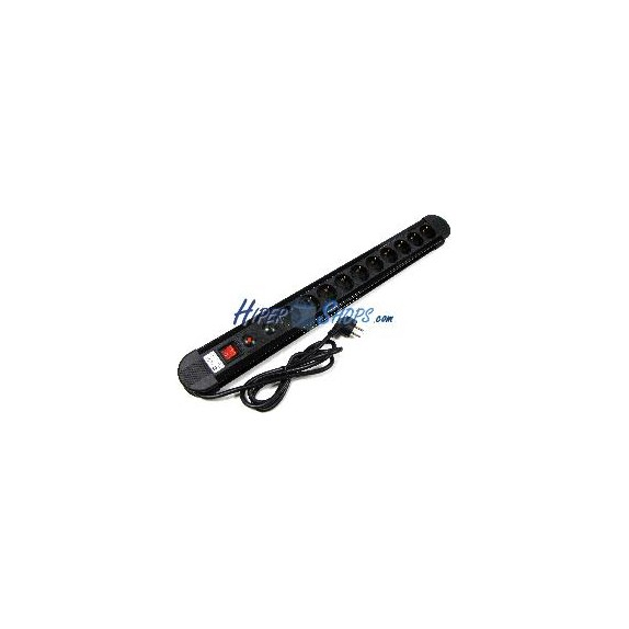 Regleta de enchufes 10 schuko con interruptor y protección sobretensiones (1.5m cable)