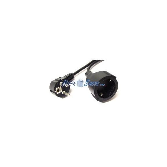 Prolongador eléctrico schuko macho a hembra de 2m negro