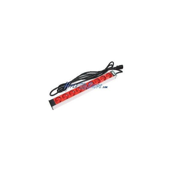 Regleta de enchufes rack 19'''' con 9 schuko rojo y cable C14 de RackMatic