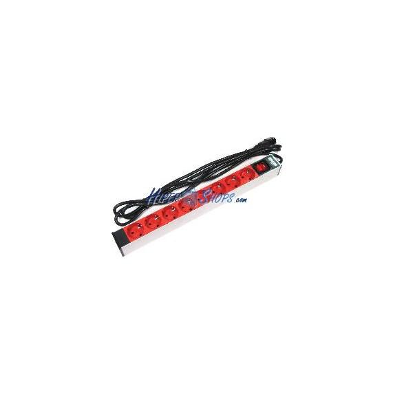 Regleta de enchufes rack 19'''' de 8 schuko rojo con interruptor y cable C14 de RackMatic